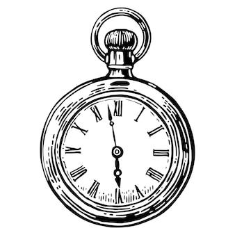 Antyczny zegarek kieszonkowy. vintage grawerowane ilustracja. czarno na białym tle.