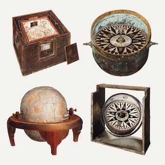 Antyczny zestaw elementów projektu globusa i kompasu, zremiksowany z kolekcji domeny publicznej