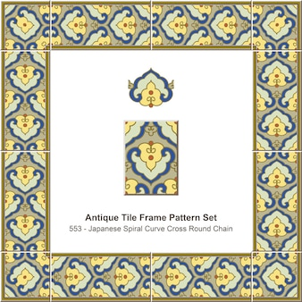 Antyczny zestaw wzorów ramek do płytek japoński spiralny łańcuch krzyżykowy krzyż