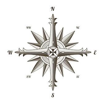 Antyczny znak żeglarski kompas. stary element projektu dla motywu morskiego i heraldyki na białym tle. godło etykiety rocznika róża wiatrów.