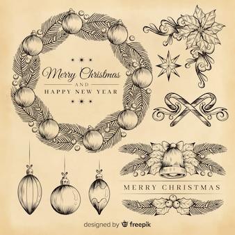 Antykwarska świąteczna dekoracja na sepiowych kolorach
