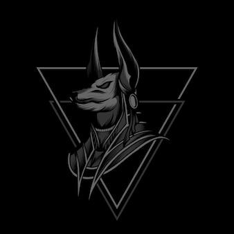 Anubis czarno-biały ilustracja