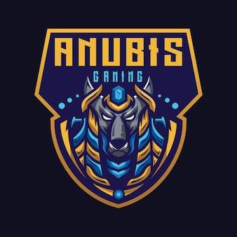 Anubis esport maskotka kreskówka szablon wektor logo