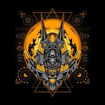 Anubis głowa cyborga styl sared ilustracja geometrii