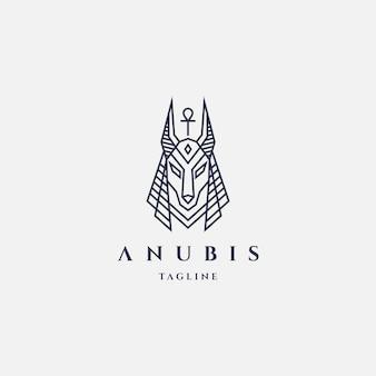 Anubis logo z kreskowego stylu projekta szablonu modnisia rocznika etykietki retro ilustracją