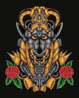 Anubis mecha maskotka ilustracja sztuki z kwiatem róży