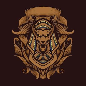 Anubis ornament ilustracji wektorowych sztuki