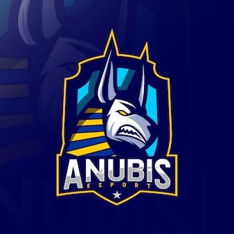 Anubis zły maskotka logo szablony e-sportu