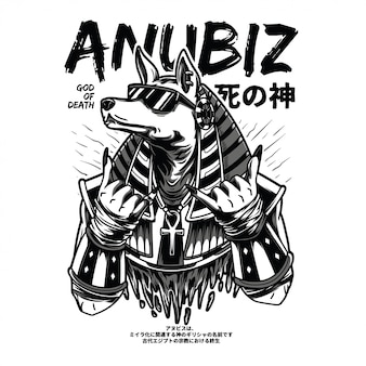 Anubiz czarno-biała ilustracja