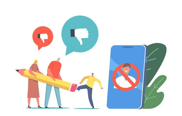 Anulowanie zakazu kultury, wymazanie tożsamości, koncepcja bojkotu. małe postacie wymazywanie osoby z gumką ołówkową w ogromnym smartfonie z obrazem zbanowanego człowieka na ekranie. ilustracja wektorowa kreskówka ludzie