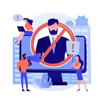 Anuluj ilustracja wektorowa abstrakcyjnej koncepcji kultury. anuluj osobę lub społeczność, platformę mediów społecznościowych, krytykę internetową, osobę publiczną, celebrytę, zawstydzanie grupy, bojkot abstrakcyjną metaforę.