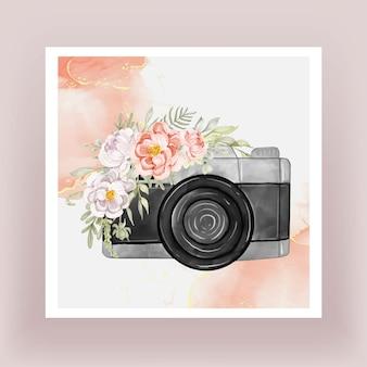 Aparat fotograficzny akwarela z kwiatami piwonii