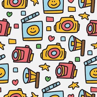 Aparat fotograficzny doodle wzór