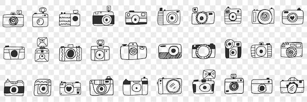 Aparat fotograficzny z obiektywem doodle zestaw ilustracji