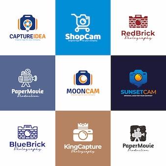 Aparat, projektowanie logo fotografii. kreatywna kolekcja unikalnych logo.