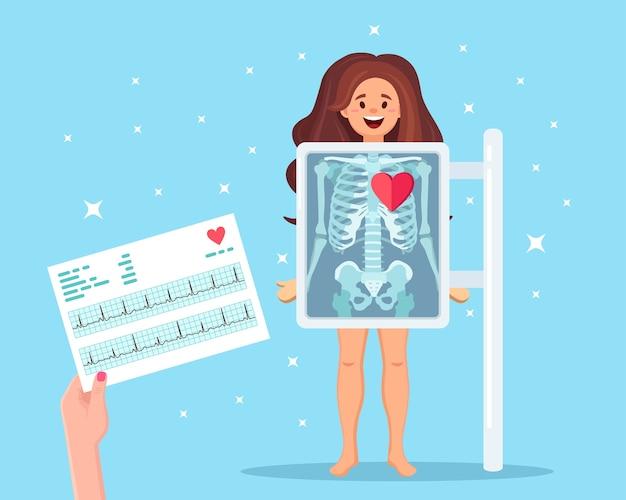 Aparat rentgenowski do skanowania ludzkiego ciała i kardiogramu. rentgen kości klatki piersiowej. usg narządów