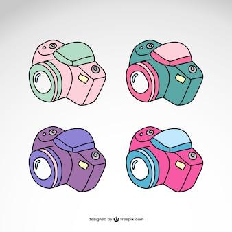 Aparaty fotograficzne ustawione projekt logo