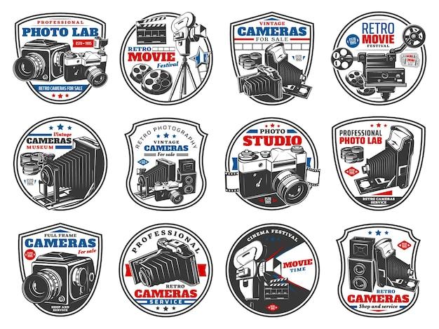Aparaty retro do ikon zdjęć i wideo. sklep ze sprzętem optycznym do fotografowania vintage. profesjonalne laboratorium, technika fotografów, festiwal kina filmowego na białym tle etykiety i zestaw emblematów