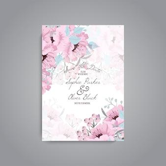 Apartament z karty zaproszenie na ślub z szablonu kwiat
