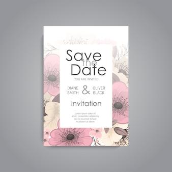 Apartament zaproszenia ślubne z kwiatowymi szablonami.