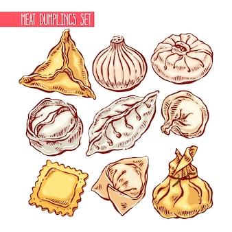 Apetyczny zestaw różnych pierogów. ręcznie rysowane ilustracji
