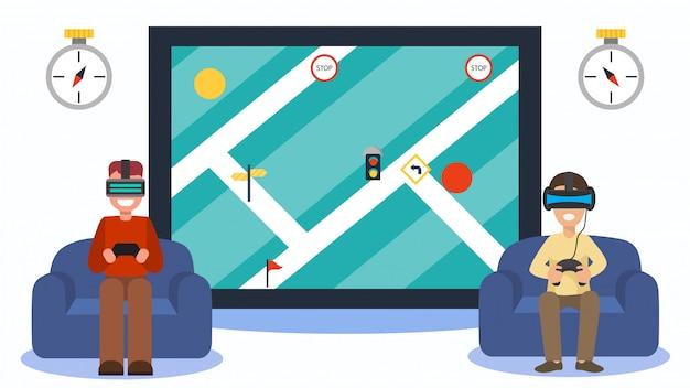 Aplikacja 3d, rozszerzona rzeczywistość cyfrowa, ilustracja w cyberprzestrzeni. nawigacja w wirtualnej rzeczywistości w technologii ekranowej.