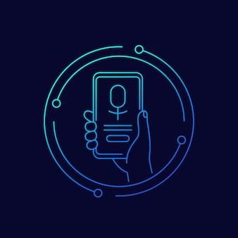 Aplikacja asystenta głosowego, telefon w ręku, ikona wektor linii