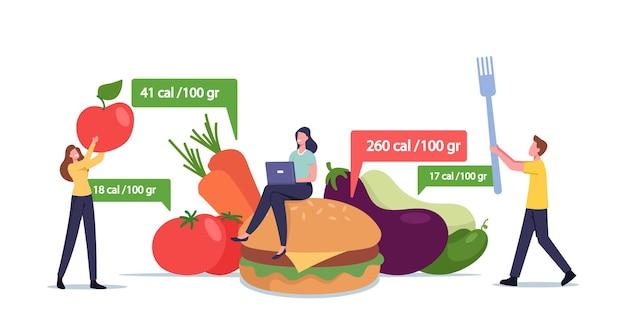 Aplikacja dla koncepcji żywienia i diety. małe postacie męskie i żeńskie w ogromnych zdrowych i niezdrowych posiłkach liczenie kalorii za pomocą aplikacji do odchudzania. ilustracja wektorowa kreskówka ludzie