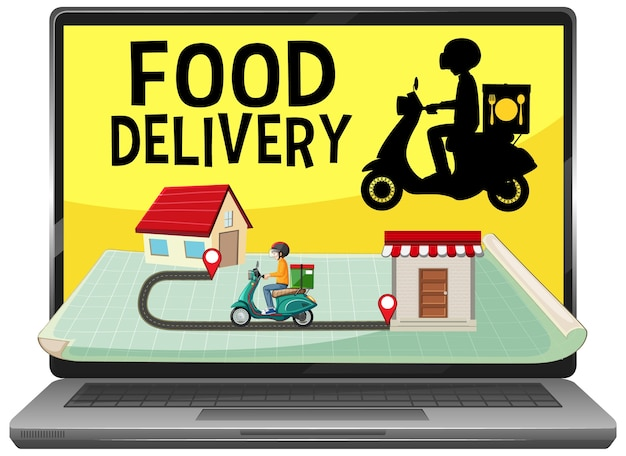 Aplikacja do dostarczania żywności na białym tle