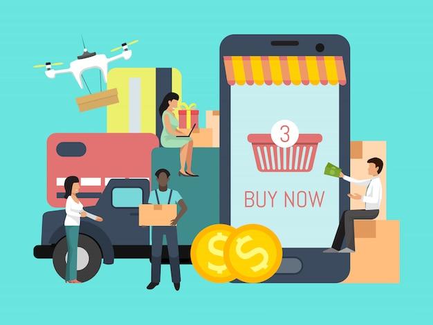 Aplikacja do śledzenia ładunków online. ludzie z pieniędzmi czekają w internecie na duże pudełka, ciężarówki i karty kredytowe. dostawa. towar za pośrednictwem sklepu internetowego