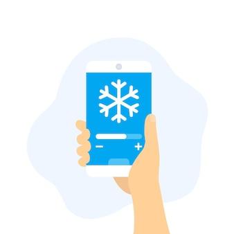 Aplikacja do sterowania chłodzeniem, smartfon w ręku, wektor