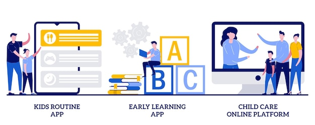 Aplikacja do wczesnej nauki, koncepcja platformy internetowej opieki nad dziećmi z ilustracjami małych ludzi