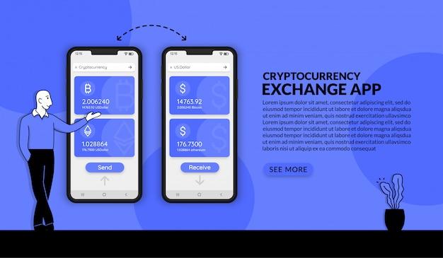 Aplikacja do wymiany kryptowalut, biznesmen przedstawiający system handlu kryptowalutami