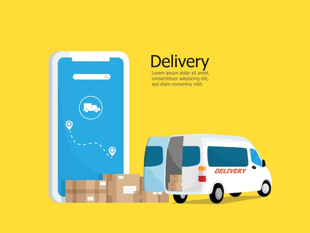 Aplikacja dostawy online z paczką i furgonetką
