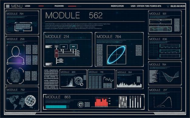 Aplikacja hud ui futurystyczny interfejs użytkownika elementy hud i infografika