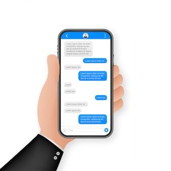 Aplikacja interfejsu czatu z oknem dialogowym. koncepcja czystego mobilnego interfejsu użytkownika. sms messenger. ilustracja.