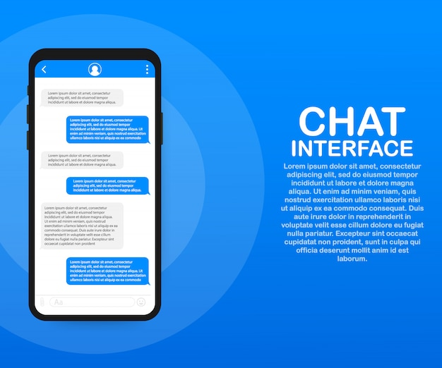 Aplikacja interfejsu czatu z oknem dialogowym. koncepcja projektowania czystego mobilnego interfejsu użytkownika. sms messenger. .