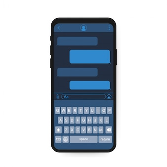 Aplikacja interfejsu czatu z oknem dialogowym. koncepcja projektowania czystego mobilnego interfejsu użytkownika. sms messenger