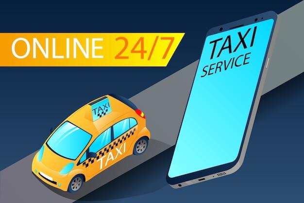 Aplikacja izometrycznej taksówki miejskiej żółta