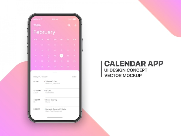 Aplikacja kalendarza ui ux concept strona lutego