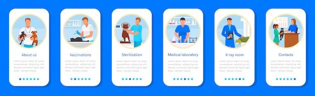 Aplikacja kliniki weterynaryjnej, interfejs aplikacji mobilnej na smartfony z kreskówkami dla szpitala weterynaryjnego dla zwierząt domowych lub zwierząt
