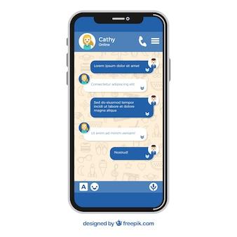 Aplikacja messenger dla urządzeń przenośnych w stylu płaskiej
