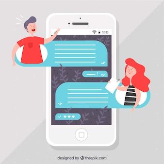 Aplikacja messenger na urządzenia mobilne w stylu płaskiej