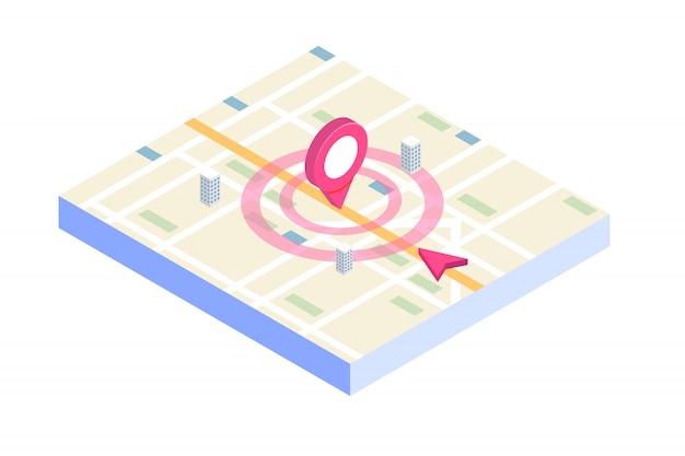 Aplikacja mobilna 3d izometryczny gps. ilustracja.