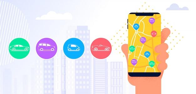 Aplikacja mobilna carsharing service.