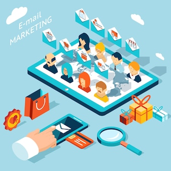 Aplikacja mobilna do marketingu e-mailowego. zarządzaj korespondencją ze smartfona lub tabletu. rozwój technologii, społeczność i koperta, rynek zakupów.