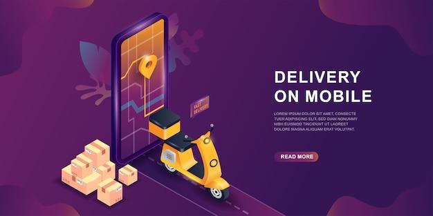 Aplikacja mobilna dostawa online, koncepcja izometryczna. koncepcja usługi dostawy online. ekran smartfona ze znakiem mapy i gps. zakupy w serwisie internetowym na skuterze lub motocyklu.