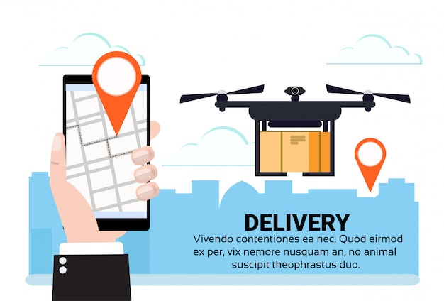 Aplikacja mobilna dron latający deo tag dostawa przesyłki lotniczej