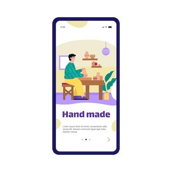 Aplikacja mobilna na ekranie telefonu z garncarzem wykonującym ceramikę