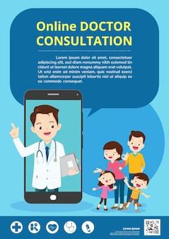 Aplikacja mobilna rodzina lekarzy za pomocą kontrolnych wskaźników zdrowia skonsultuj się z usługą online
